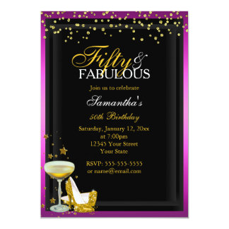Gold & Pink 50 & Fabulous Birthday Invitation