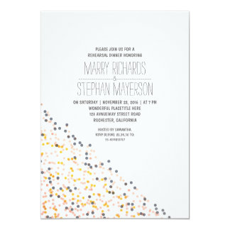 gold pink and navy confetti rehearsal dinner 13 cm x 18 cm invitation card
