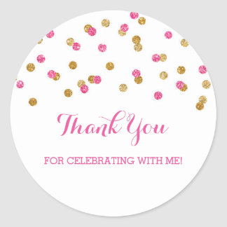 Gold Pink Birthday Thank You Custom Favor Tags Round Sticker