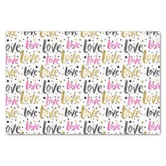 Gold Pink Black Confetti Love Tissue Paper