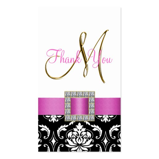 Gold, Pink, Black White Damask Wedding Thank You Business Cards