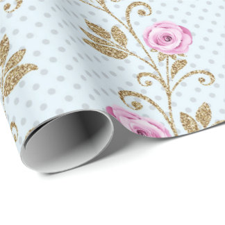 Gold Pink Blue Pastel Dots Glitter Baroque Roses Wrapping Paper