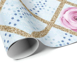 Gold Pink Blue Pastel Grill Glitter Baroque Roses Wrapping Paper