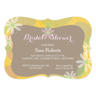 Gold, Pink & Brown & White Daisies Bridal Shower 13 Cm X 18 Cm Invitation Card