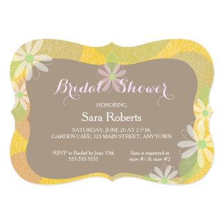 Gold, Pink & Brown & White Daisies Bridal Shower 13 Cm X 18 Cm Invitation Card
