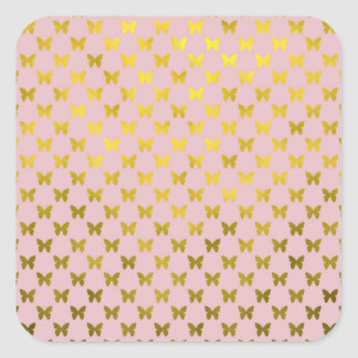 Gold Pink Butterfly Metallic Faux Foil Butterflies Square Sticker