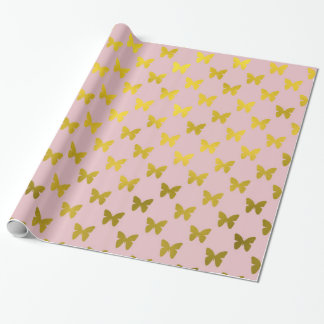 Gold Pink Butterfly Metallic Faux Foil Butterflies Wrapping Paper