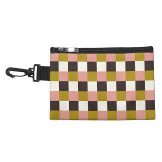 Gold Pink Chocolate Ivory Plaid Accessory Bag