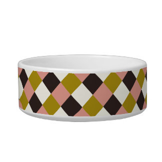 Gold Pink Chocolate Ivory Plaid Bowl