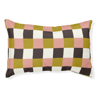 Gold Pink Chocolate Ivory Plaid Pet Bed