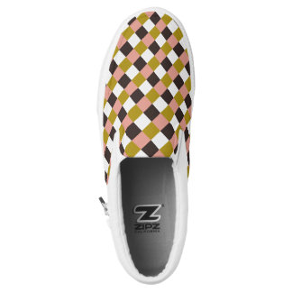 Gold Pink Chocolate Ivory Plaid Slip-On Shoes