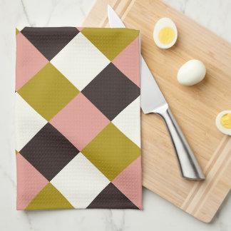 Gold Pink Chocolate Ivory Plaid Tea Towel