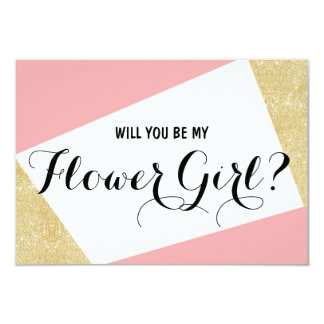 Gold pink color block Will you be my Flower Girl Card