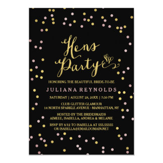 Gold & Pink Confetti Black Hens Party Invitation
