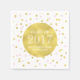 Gold Pink Confetti Class of 2017 Graduation Paper Napkins
