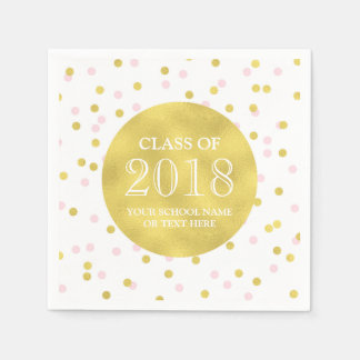 Gold Pink Confetti Class of 2018 Graduation Disposable Serviette