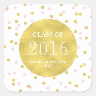 Gold Pink Confetti Graduation Class of 2016 Square Sticker