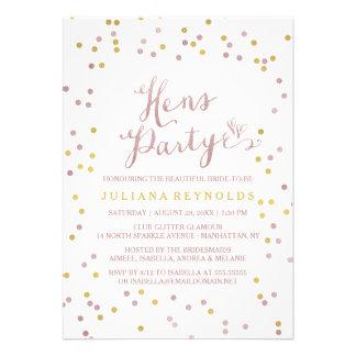 Gold & Pink Confetti Hens Party Invitation
