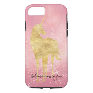 Gold Pink Confetti Magical Unicorn iPhone 8/7 Case