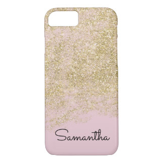 Gold Pink Faux Sparkly Glitter Personalized iPhone 8/7 Case