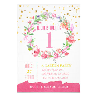 Gold & Pink Floral Girl First Birthday invitation