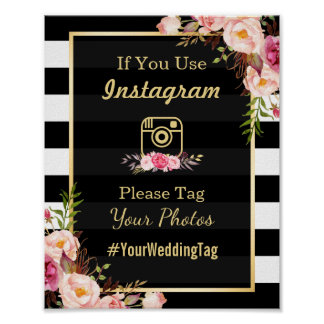 Gold Pink Floral Stripes | Instagram Wedding Sign