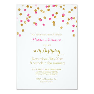 Gold Pink Fuchsia Confetti  50th Birthday Party 13 Cm X 18 Cm Invitation Card