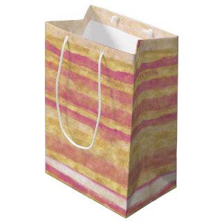 Gold Pink Glitz Stripes Medium Gift Bag