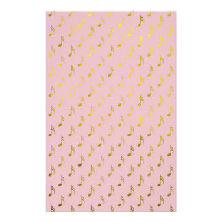 Gold Pink Musical Notes Metallic Faux Foil Customized Stationery