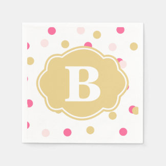 Gold Pink Polka Dot Monogram Napkins Disposable Serviette