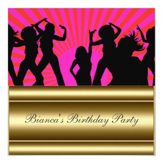 Gold pink Popular Disco Any Birthday Invitation