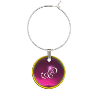 GOLD PINK PURPLE FUCHSIA AMETHYST GEM MONOGRAM WINE CHARM