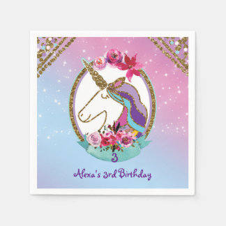 Gold Pink Purple Magical Unicorn Birthday Party Paper Napkin