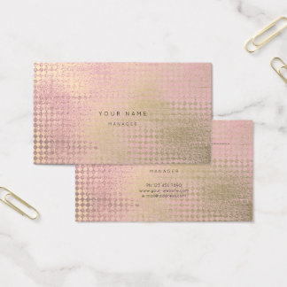 Gold Pink Rose Diamond Cut Appointment Card