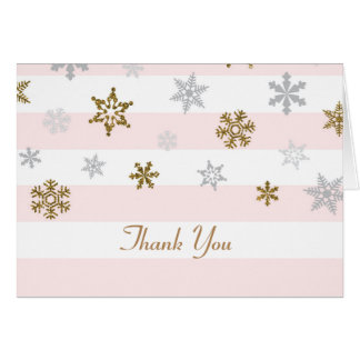 Gold Pink Snowflakes Thank You Cards