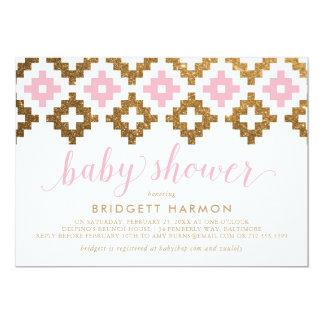 Gold Pink Southwest Blanket Baby Shower Card