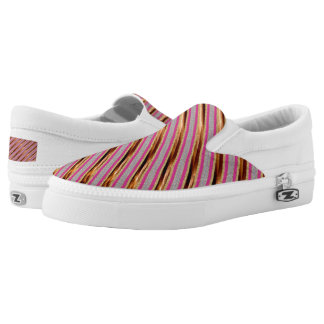 Gold Pink stipend Slip-On Shoes US-Women