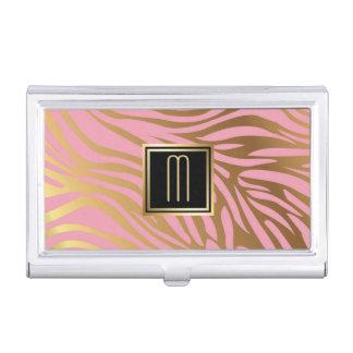 Gold Pink Stripe Elegance Business Card Holder
