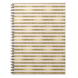 Gold Pink Stripes Notebooks