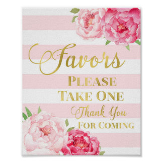 Gold Pink Stripes Watercolor Floral Favors Sign Poster