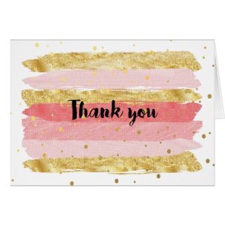 Gold & Pink Thank you card