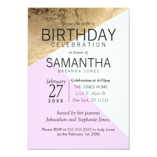 Gold Pink White Geo Triangles Birthday Party Card