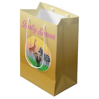 Gold & Pink Zoo Animal Baby Shower Bag