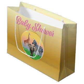 Gold & Pink Zoo Animal Baby Shower LG Bag