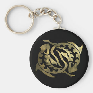 Gold Pisces Fish Basic Round Button Key Ring