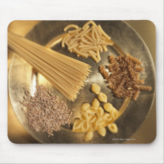 Gold Plate with pasta and grains of wheat Mouse Pad