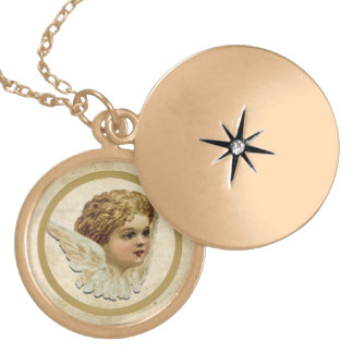 Gold plated necklace with vintage angel motive