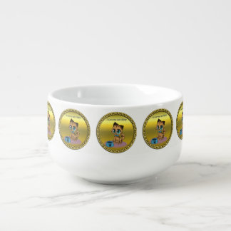 Gold playful fluffy cute kitten with cat eyes soup mug