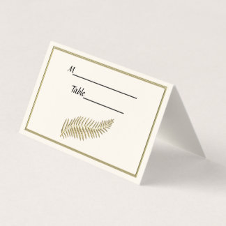 Gold Plume Feather Ivory BG Escort Place Cards