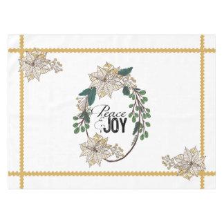 Gold Poinsettia Peace and Joy Tablecloth